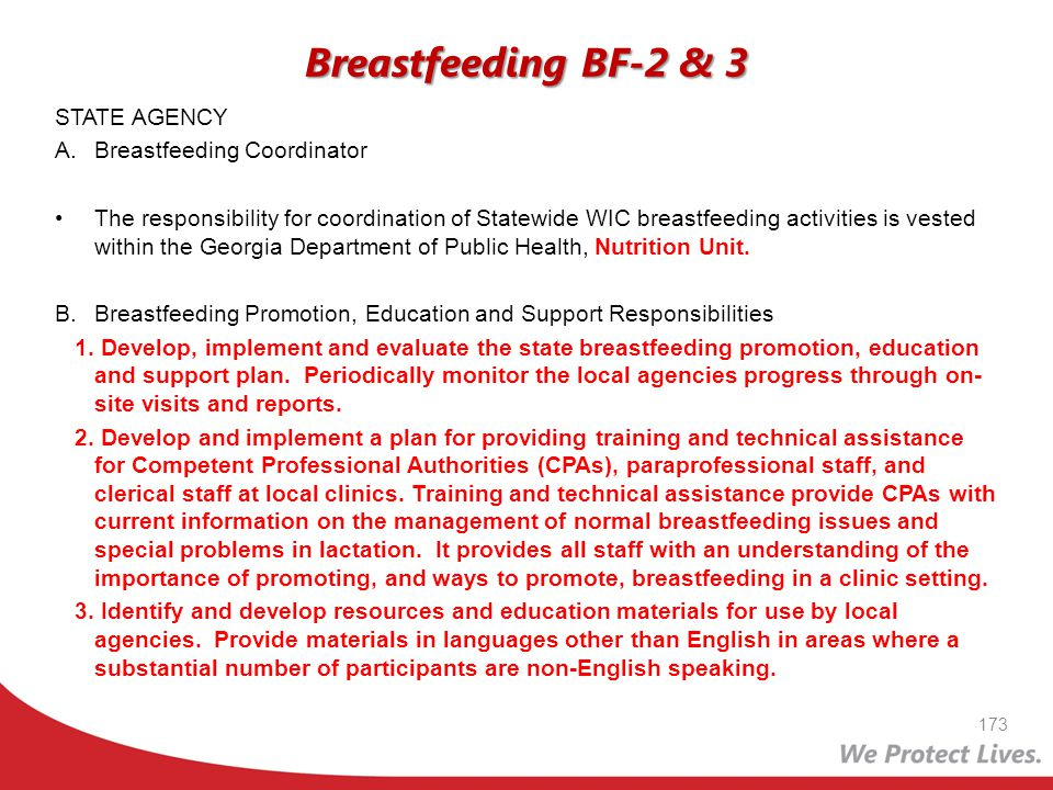 Breastfeeding BF-2 & 3 STATE AGENCY A. Breastfeeding Coordinator