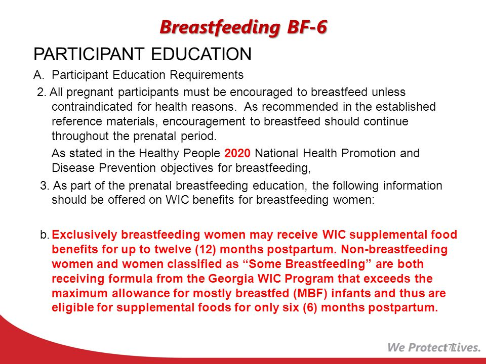 Breastfeeding BF-6 PARTICIPANT EDUCATION
