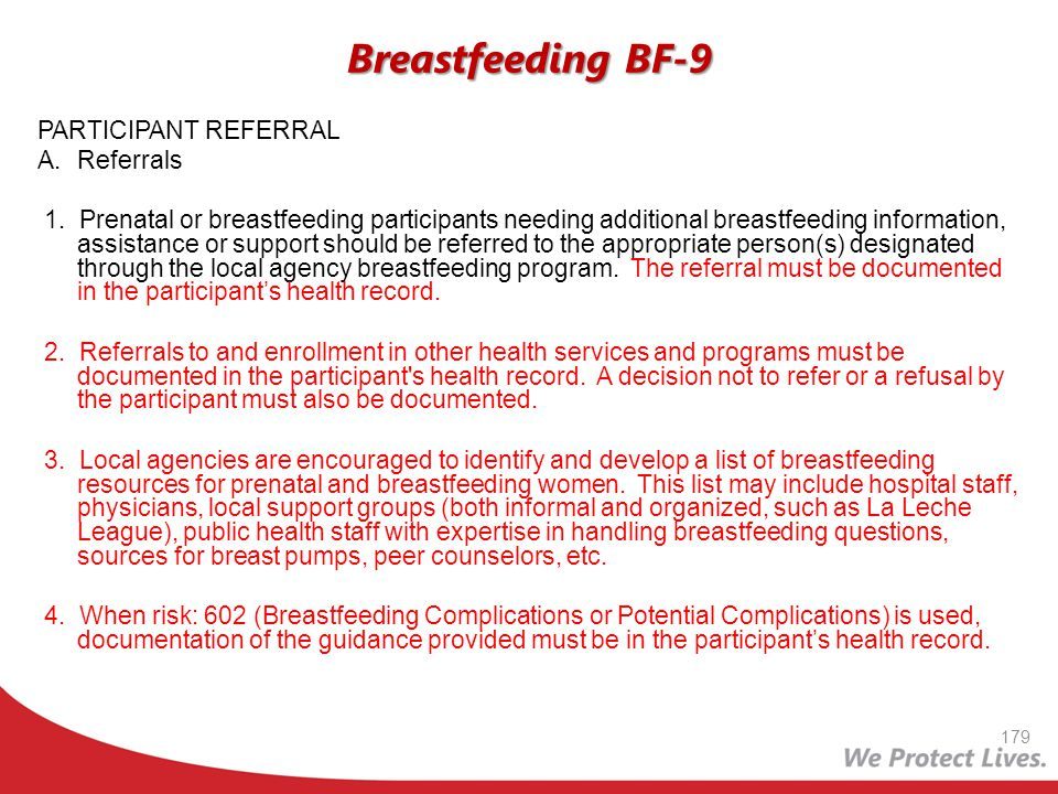 Breastfeeding BF-9 PARTICIPANT REFERRAL A. Referrals
