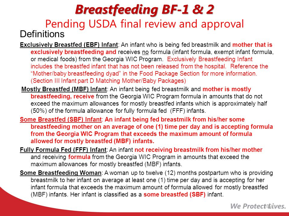 Breastfeeding BF-1 & 2 Pending USDA final review and approval