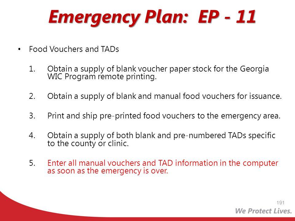 Emergency Plan: EP - 11 Food Vouchers and TADs