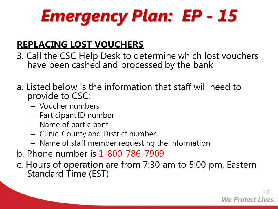 Emergency Plan: EP - 15 REPLACING LOST VOUCHERS