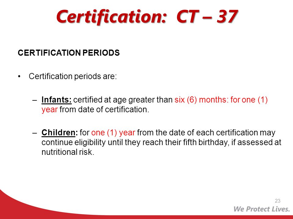 Certification: CT – 37 CERTIFICATION PERIODS