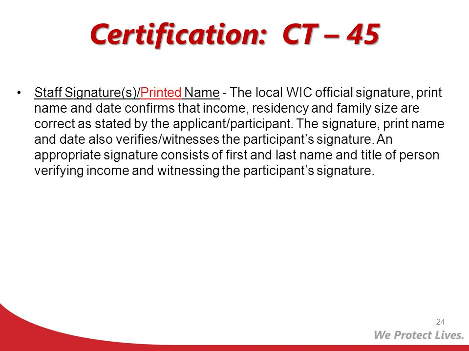Certification: CT – 45