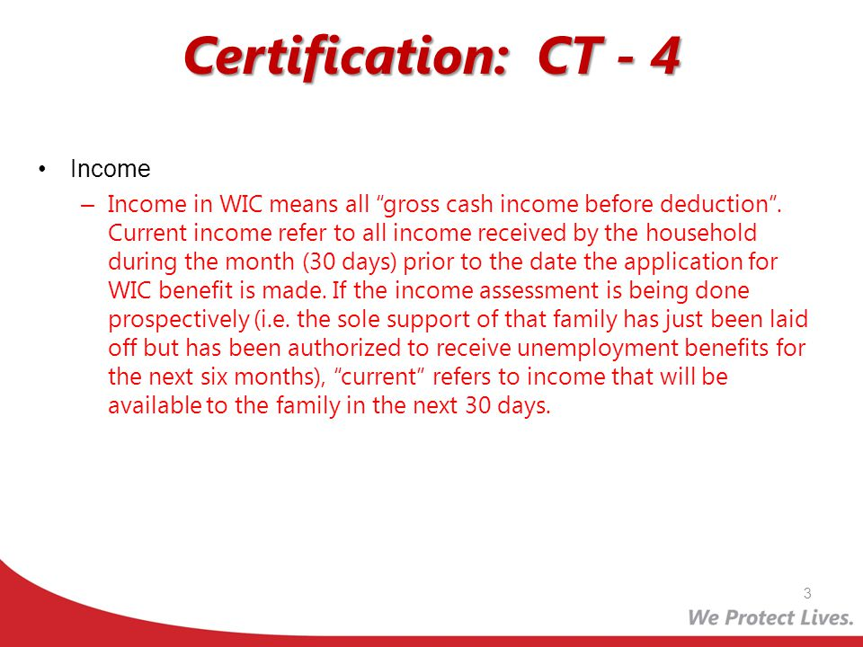 Certification: CT - 4 Income