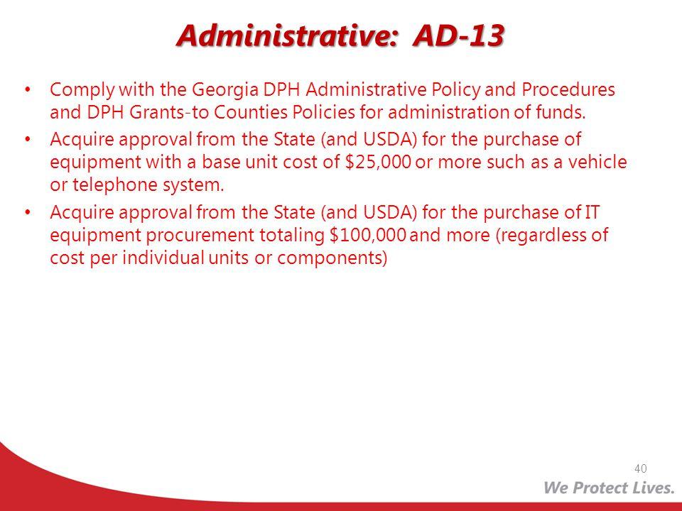 Administrative: AD-13