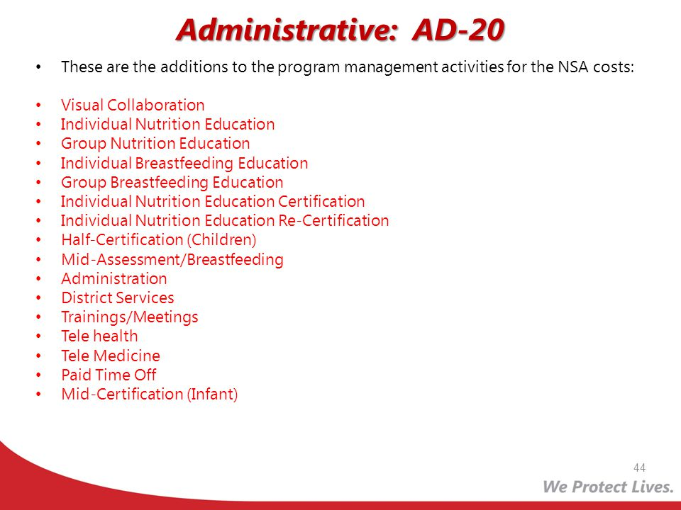 Administrative: AD-20 These are the additions to the program management activities for the NSA costs:
