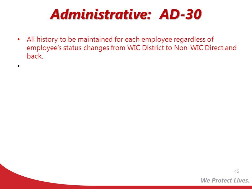 Administrative: AD-30