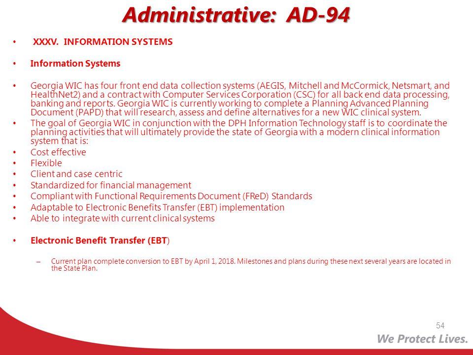 Administrative: AD-94 XXXV. INFORMATION SYSTEMS Information Systems