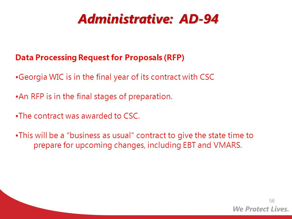Administrative: AD-94 Data Processing Request for Proposals (RFP)