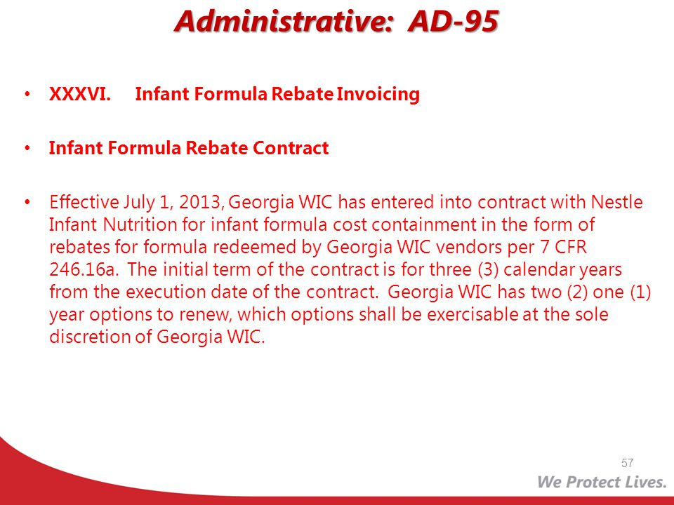 Administrative: AD-95 XXXVI. Infant Formula Rebate Invoicing