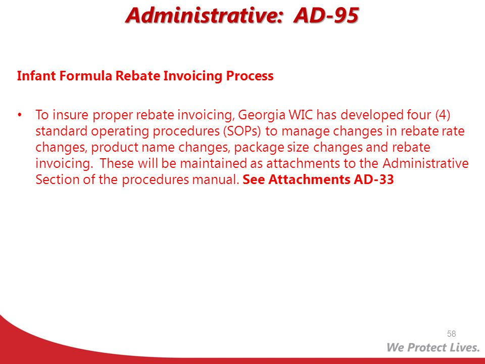 Administrative: AD-95 Infant Formula Rebate Invoicing Process