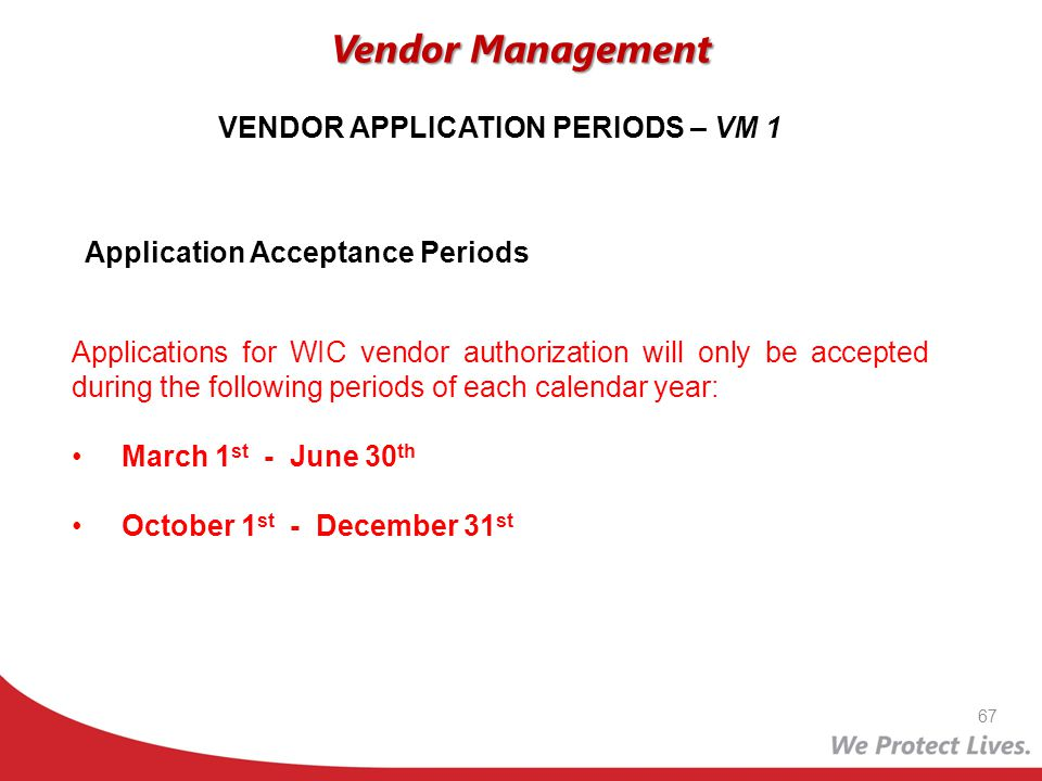 VENDOR APPLICATION PERIODS – VM 1