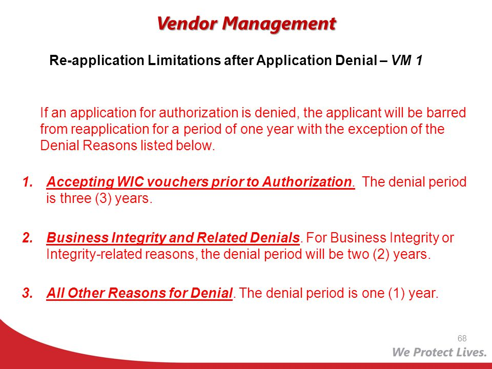 Re-application Limitations after Application Denial – VM 1