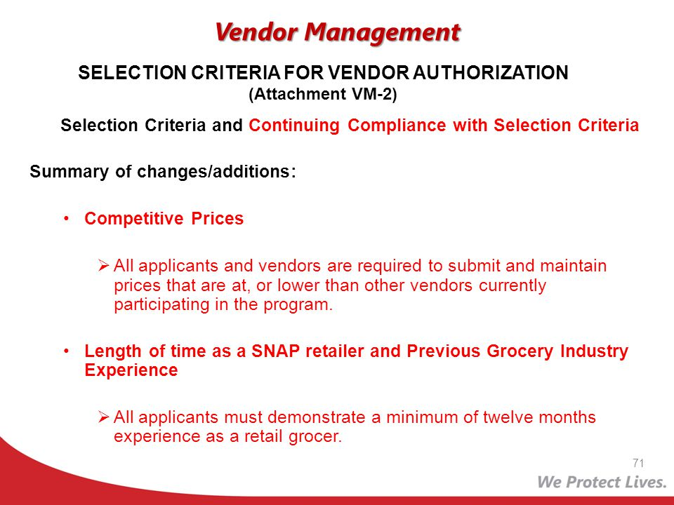 SELECTION CRITERIA FOR VENDOR AUTHORIZATION (Attachment VM-2)