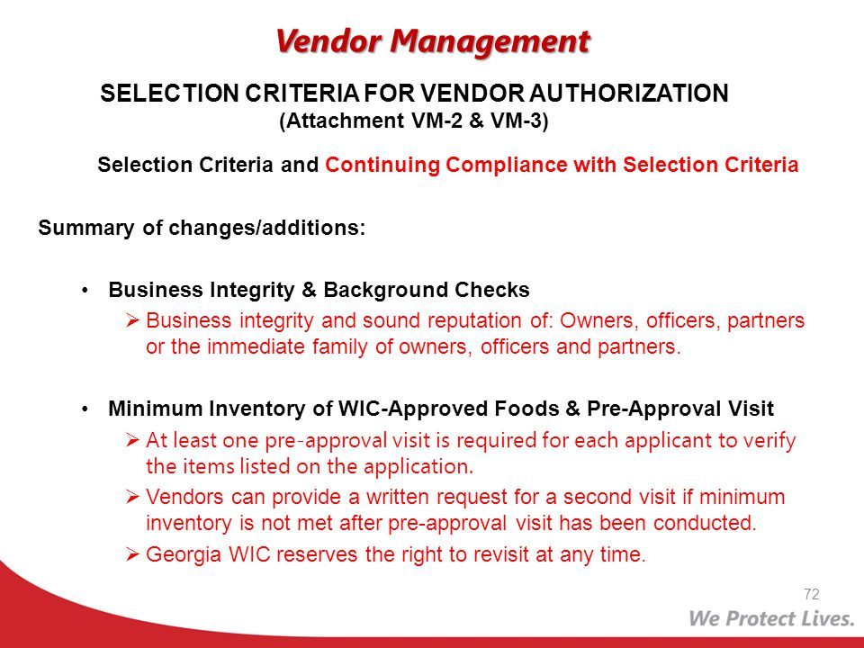 SELECTION CRITERIA FOR VENDOR AUTHORIZATION (Attachment VM-2 & VM-3)