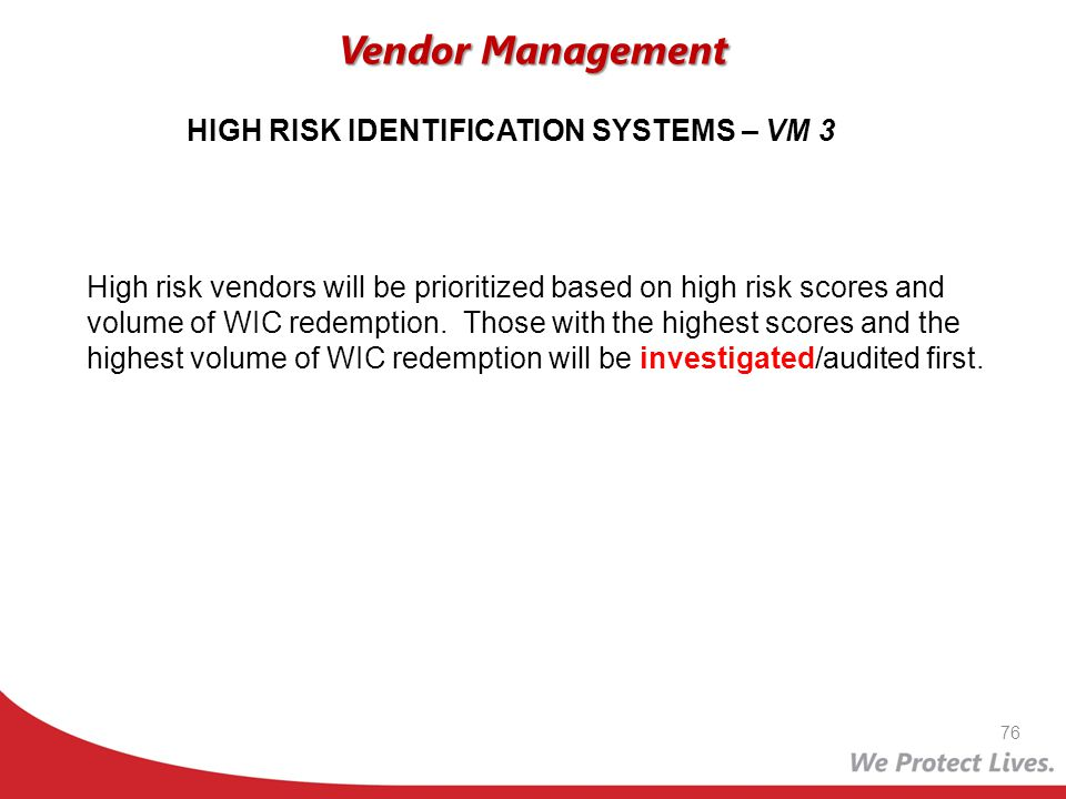 HIGH RISK IDENTIFICATION SYSTEMS – VM 3