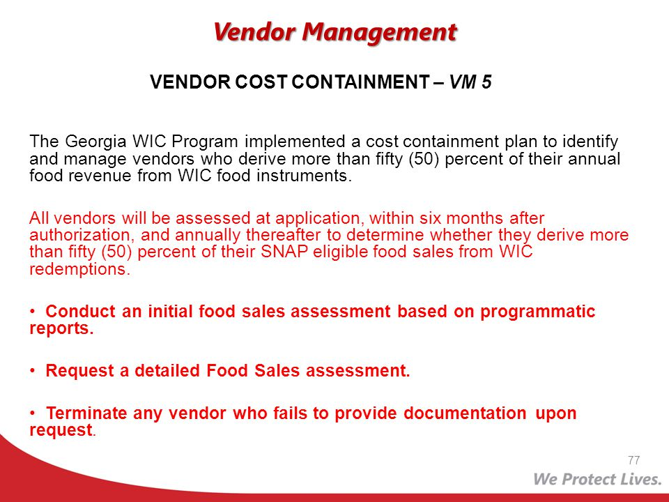 VENDOR COST CONTAINMENT – VM 5