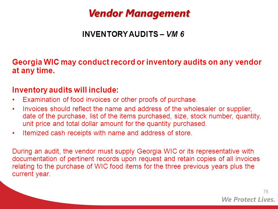 Vendor Management INVENTORY AUDITS – VM 6