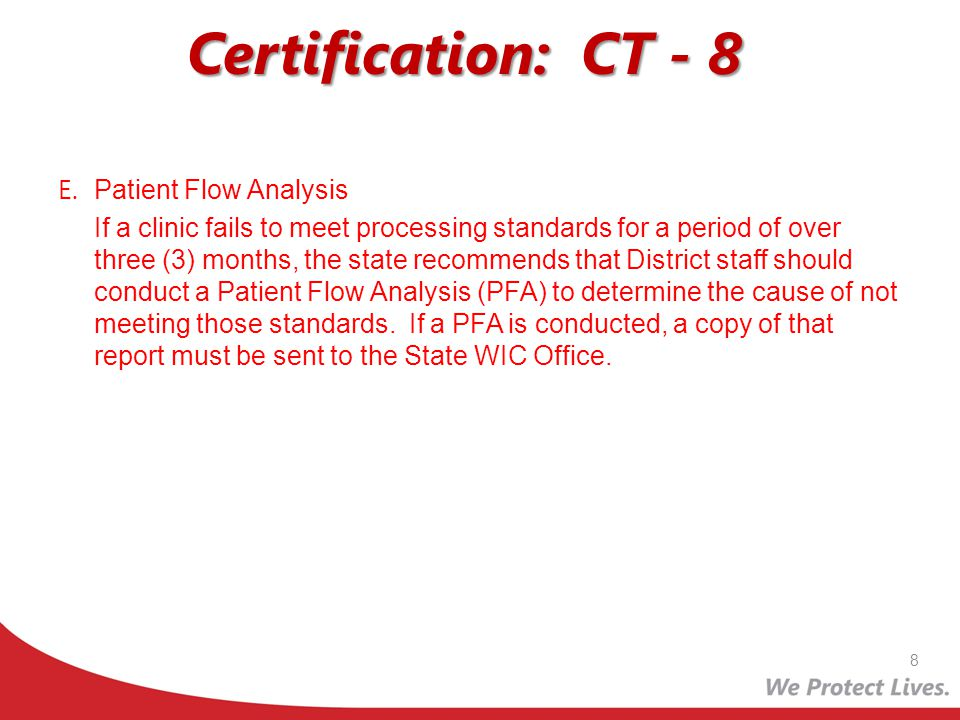 Certification: CT - 8 E. Patient Flow Analysis