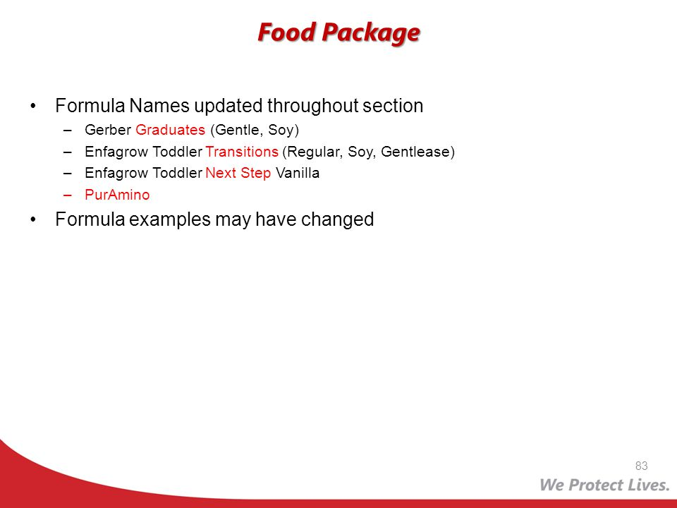Food Package Formula Names updated throughout section