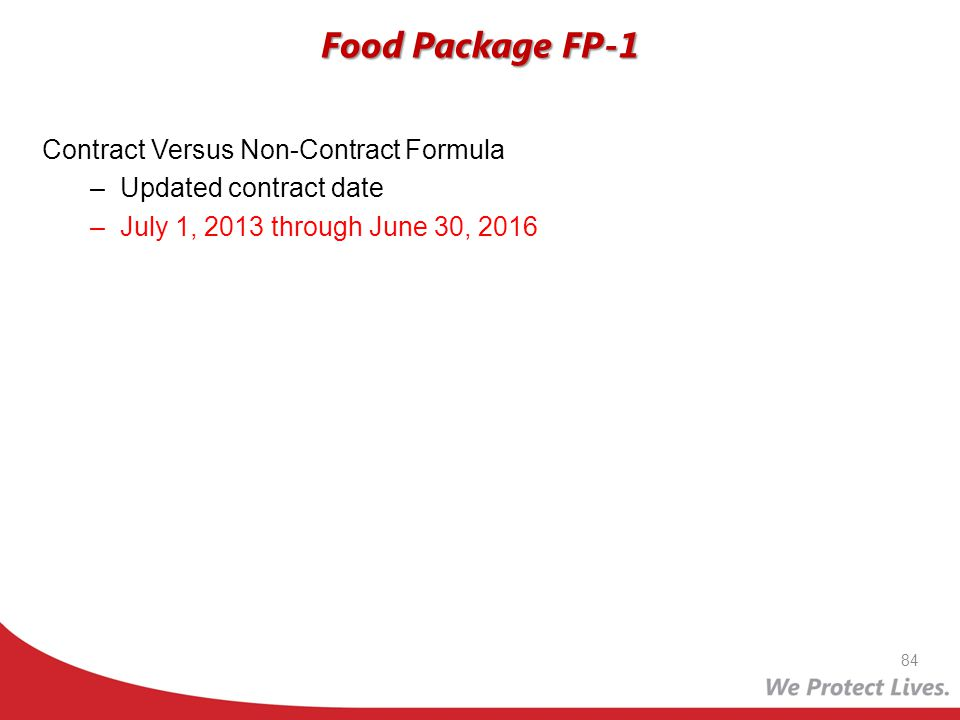 Food Package FP-1 Contract Versus Non-Contract Formula