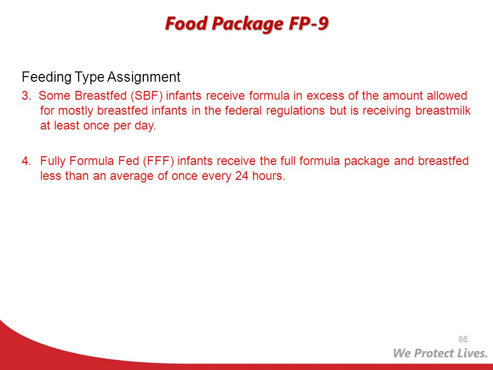 Food Package FP-9 Feeding Type Assignment