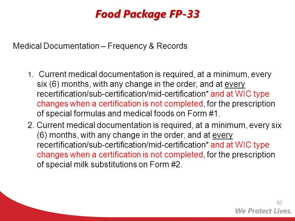 Food Package FP-33 Medical Documentation – Frequency & Records