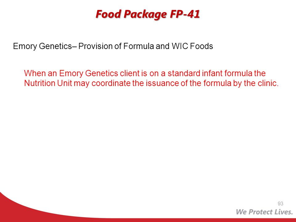 Food Package FP-41 Emory Genetics– Provision of Formula and WIC Foods