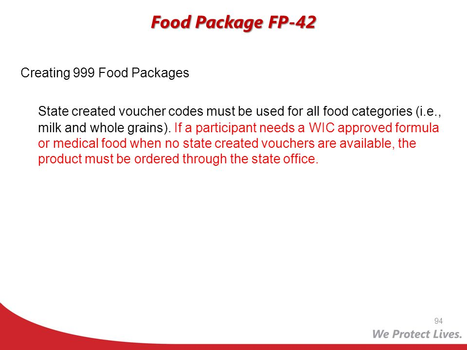 Food Package FP-42 Creating 999 Food Packages.