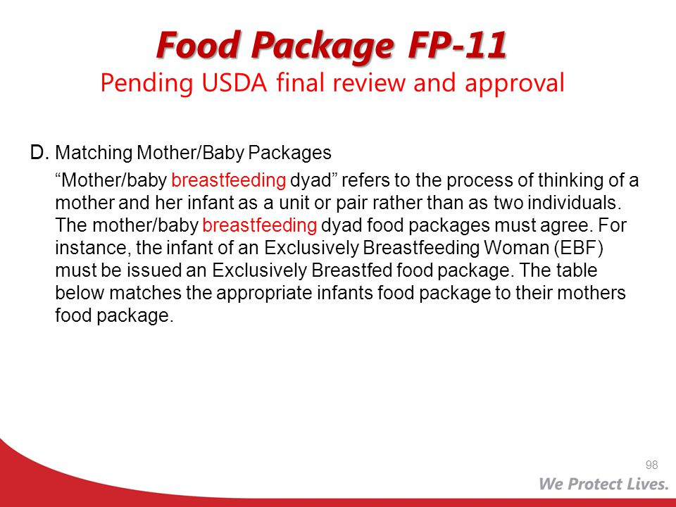 Food Package FP-11 Pending USDA final review and approval