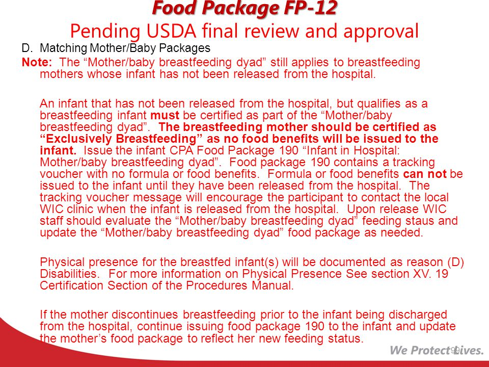 Food Package FP-12 Pending USDA final review and approval