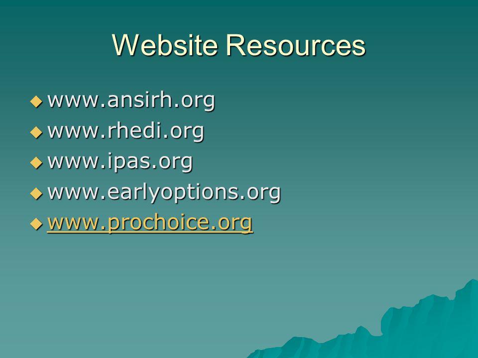 Website Resources www.ansirh.org www.rhedi.org www.ipas.org