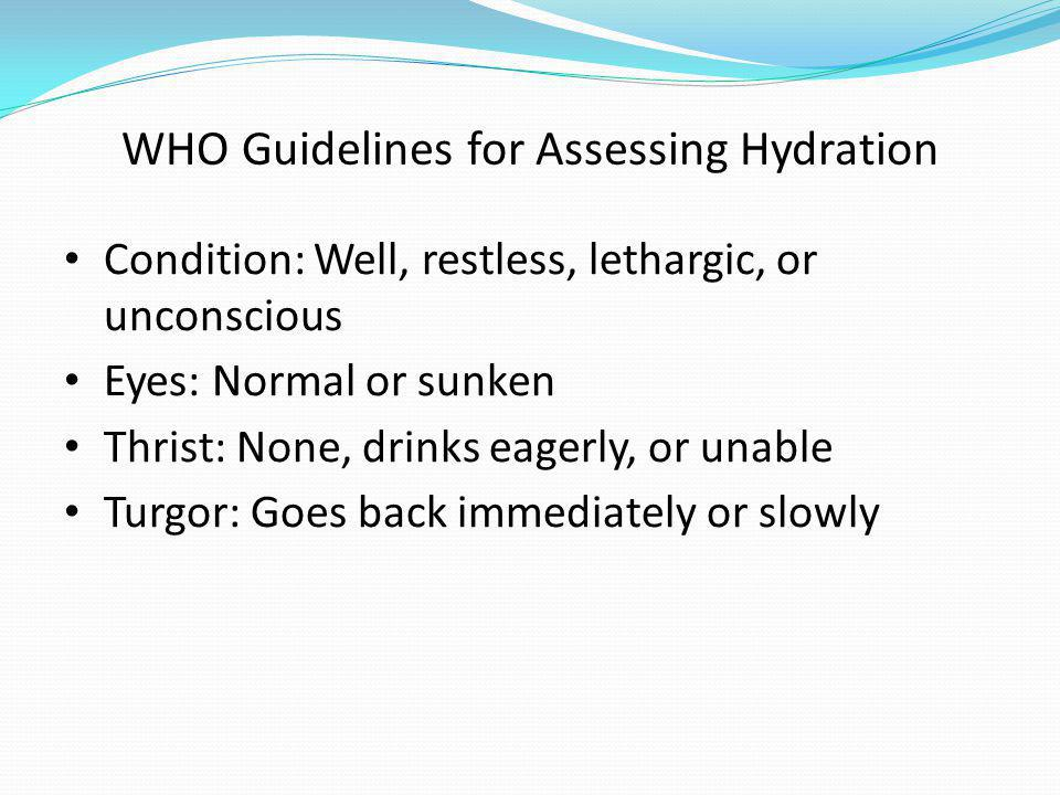 WHO Guidelines for Assessing Hydration