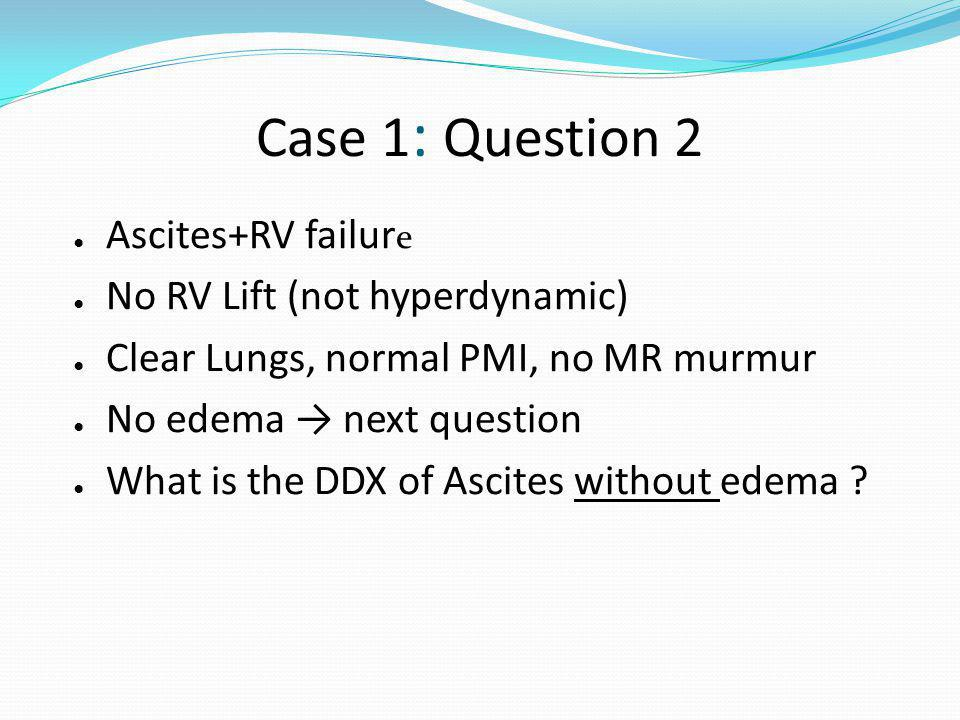 Case 1: Question 2 Ascites+RV failure No RV Lift (not hyperdynamic)