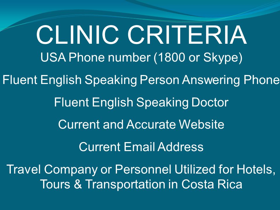 CLINIC CRITERIA USA Phone number (1800 or Skype)