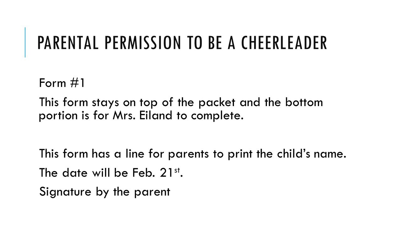Parental permission to be a cheerleader
