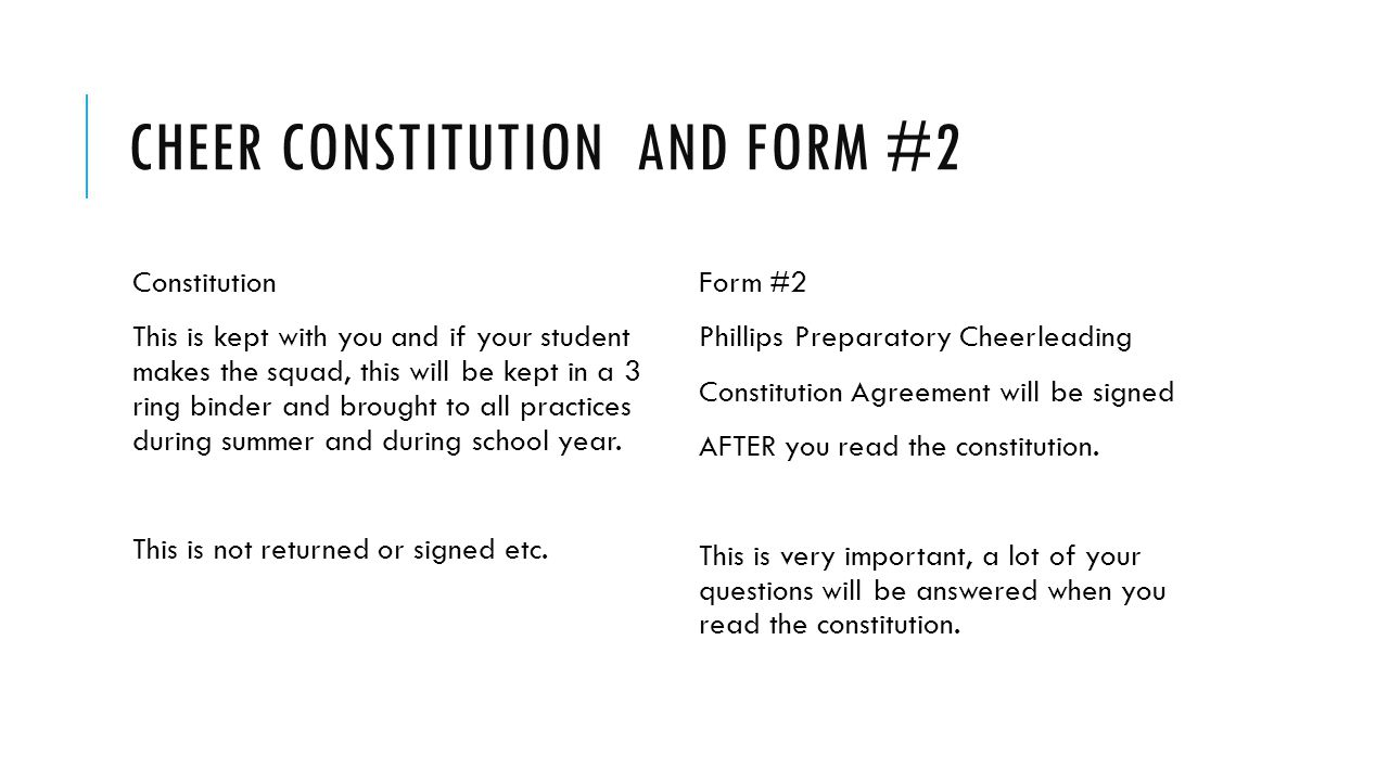 Cheer Constitution and form #2
