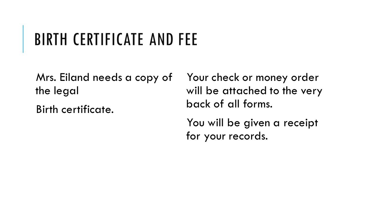 Birth certificate and fee