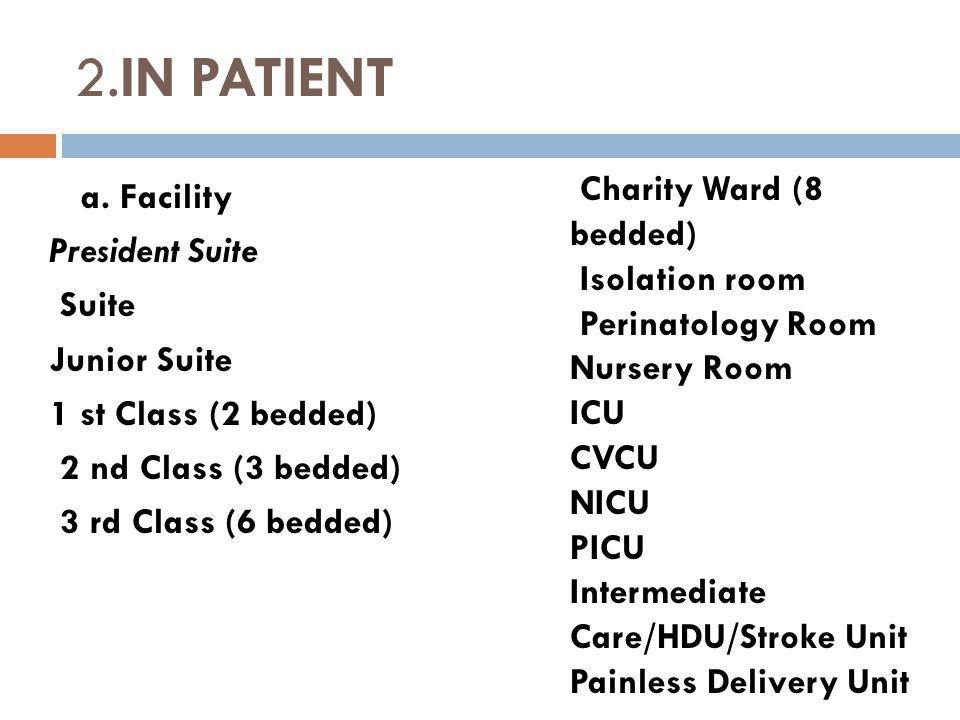 2.IN PATIENT Charity Ward (8 bedded)