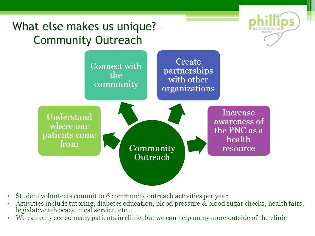 What else makes us unique – Community Outreach