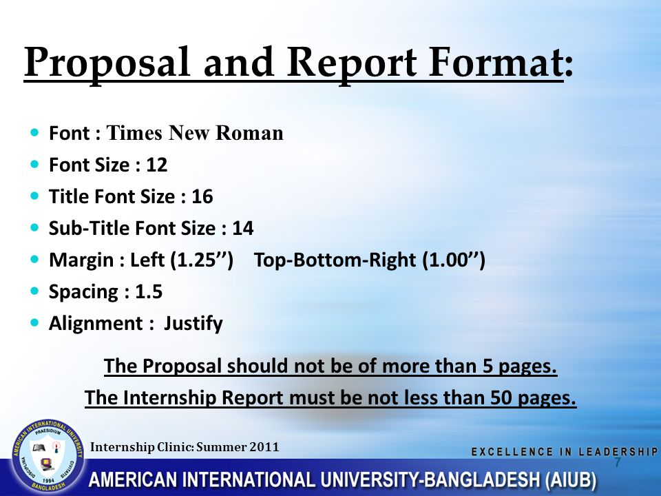 Proposal and Report Format: