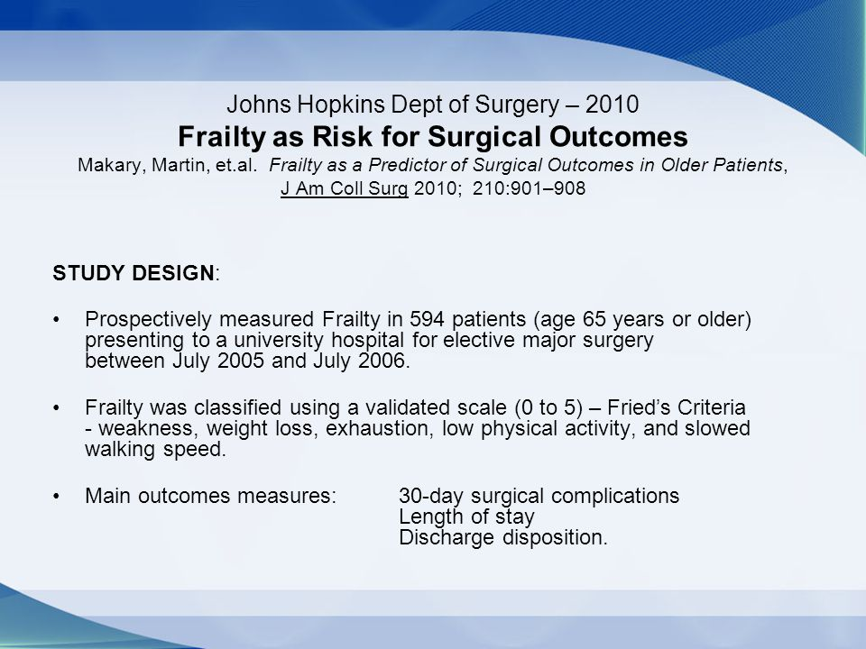 Johns Hopkins Dept of Surgery – 2010 Frailty as Risk for Surgical Outcomes Makary, Martin, et.al. Frailty as a Predictor of Surgical Outcomes in Older Patients, J Am Coll Surg 2010; 210:901–908