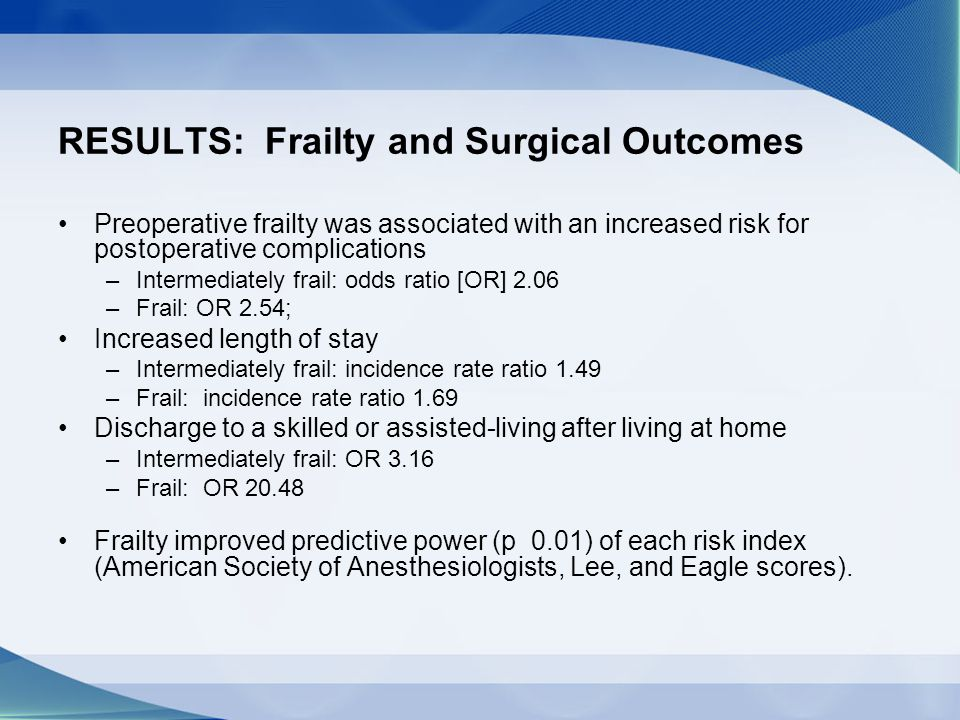 RESULTS: Frailty and Surgical Outcomes