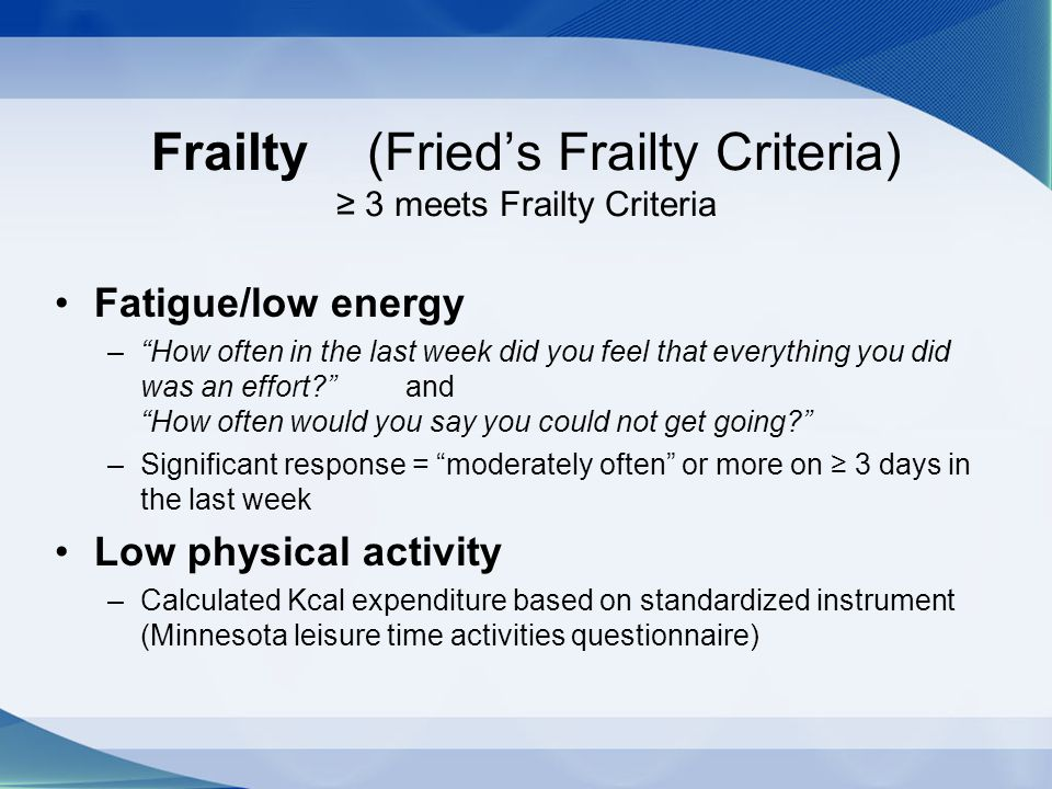 Frailty (Fried's Frailty Criteria) ≥ 3 meets Frailty Criteria