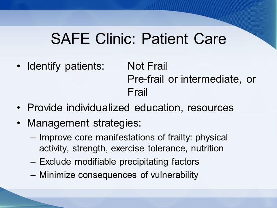 SAFE Clinic: Patient Care