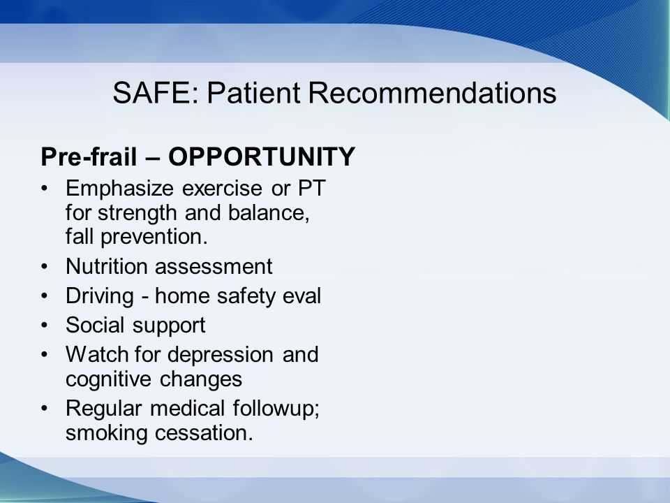 SAFE: Patient Recommendations
