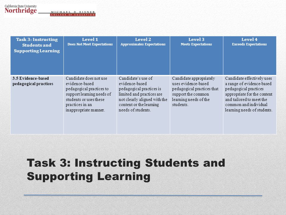 Task 3: Instructing Students and Supporting Learning