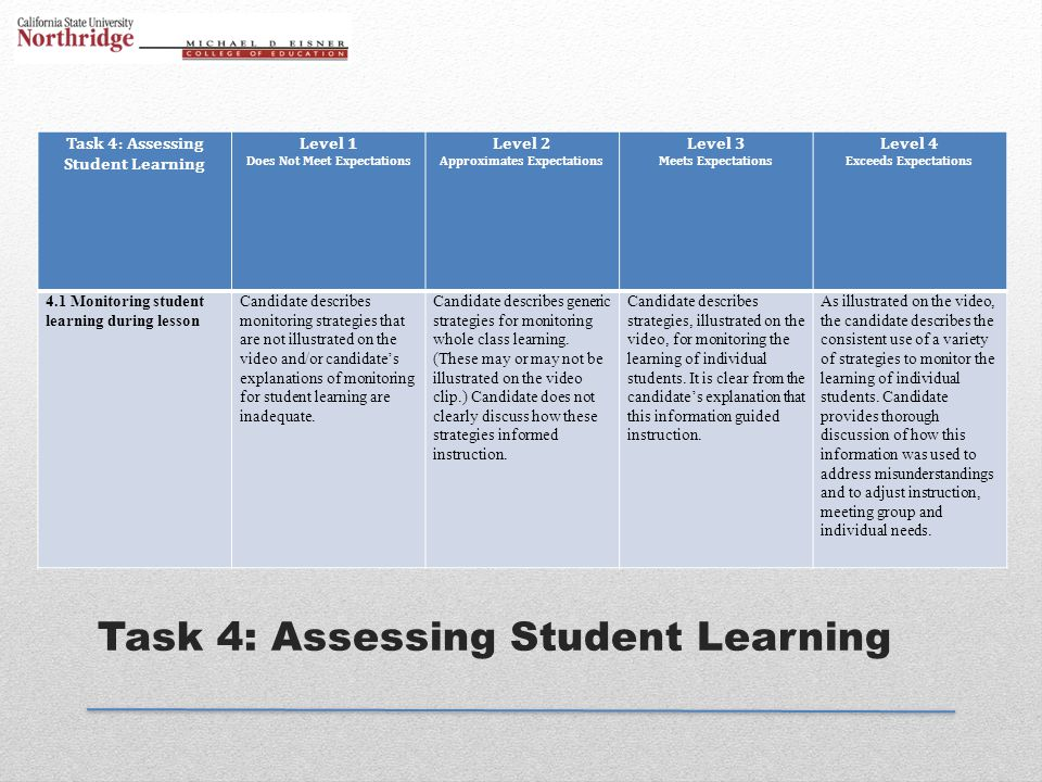 Task 4: Assessing Student Learning