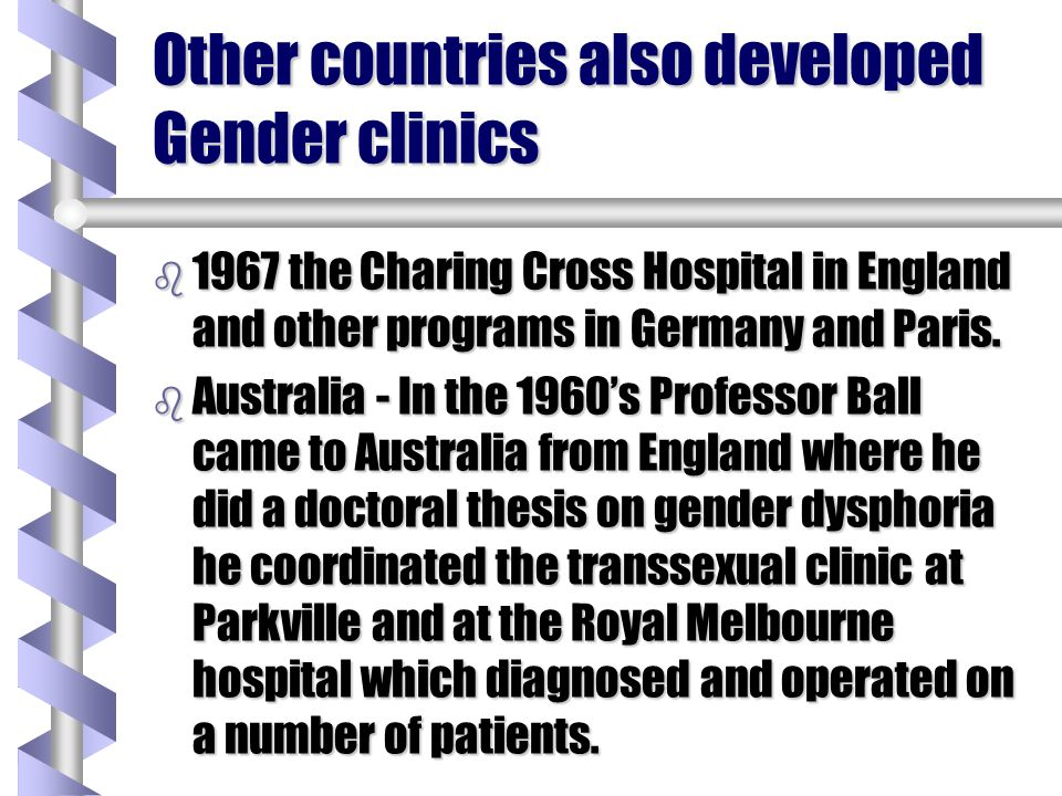 Other countries also developed Gender clinics